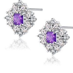 CZ Crystals Silver Earrings New